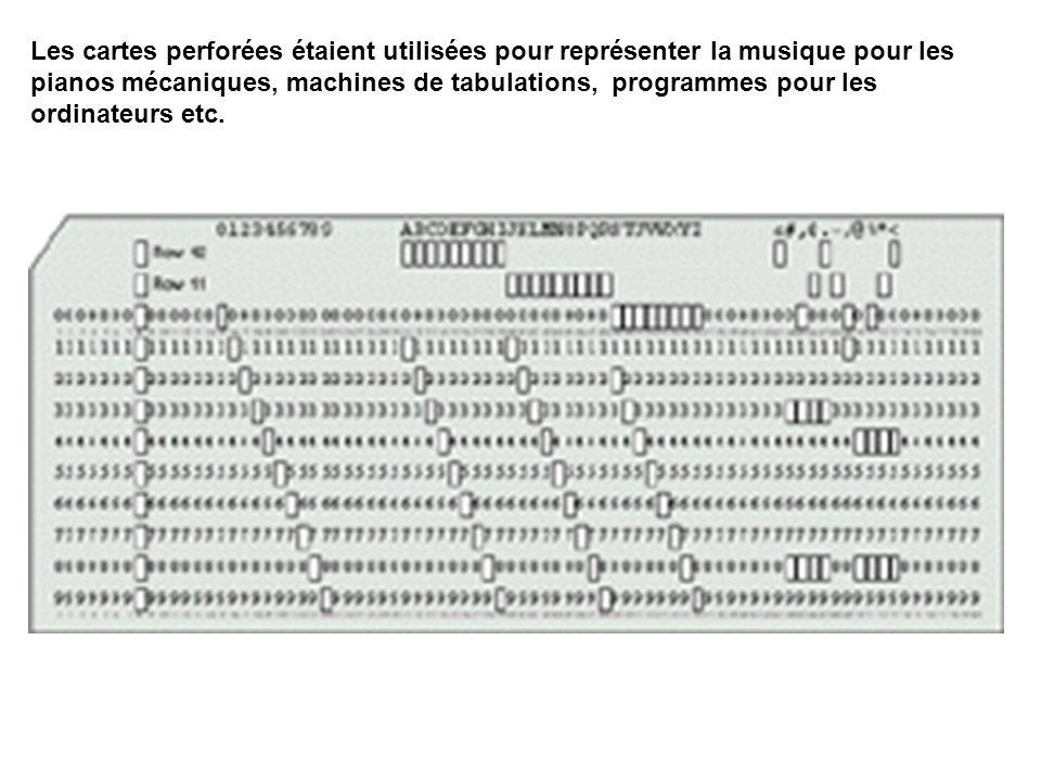 Les cartes perforées étaient utilisées pour représenter la musique pour les pianos mécaniques, machines de tabulations, programmes pour les ordinateurs etc.