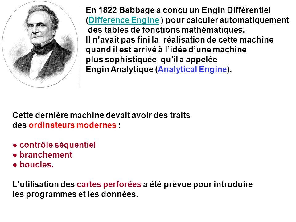 En 1822 Babbage a conçu un Engin Différentiel