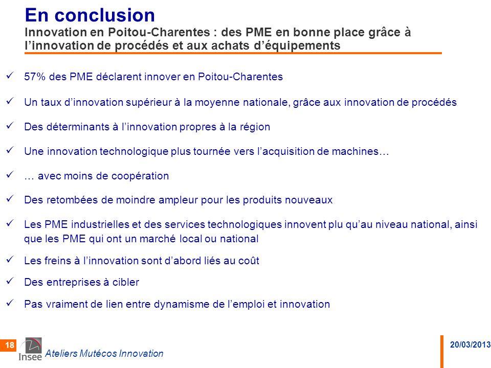 En conclusion Innovation en Poitou-Charentes : des PME en bonne place grâce à l'innovation de procédés et aux achats d'équipements