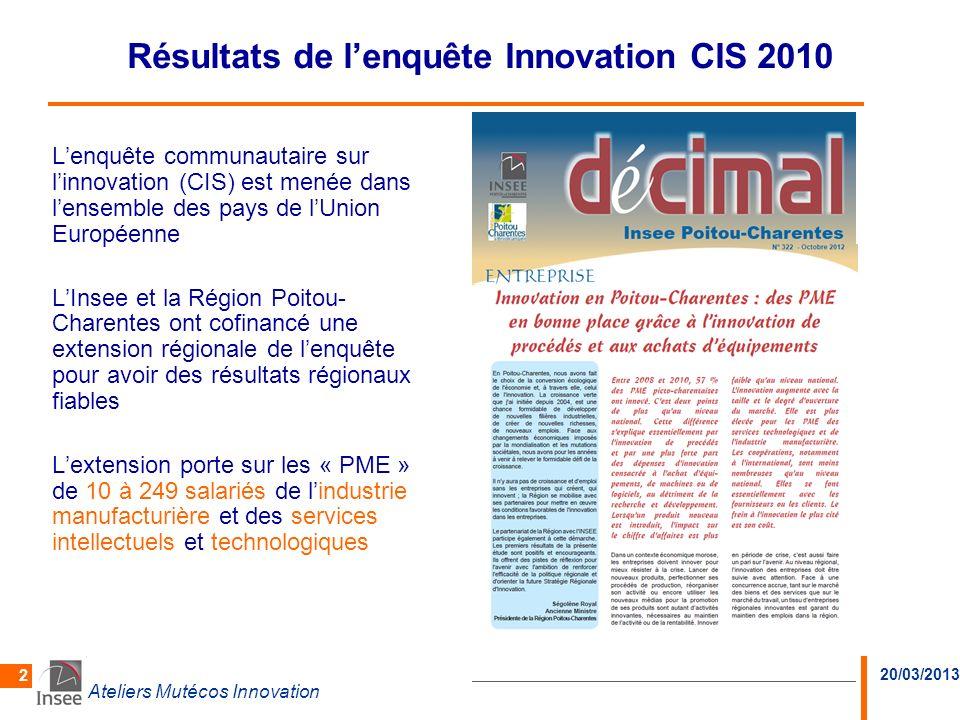 Résultats de l'enquête Innovation CIS 2010
