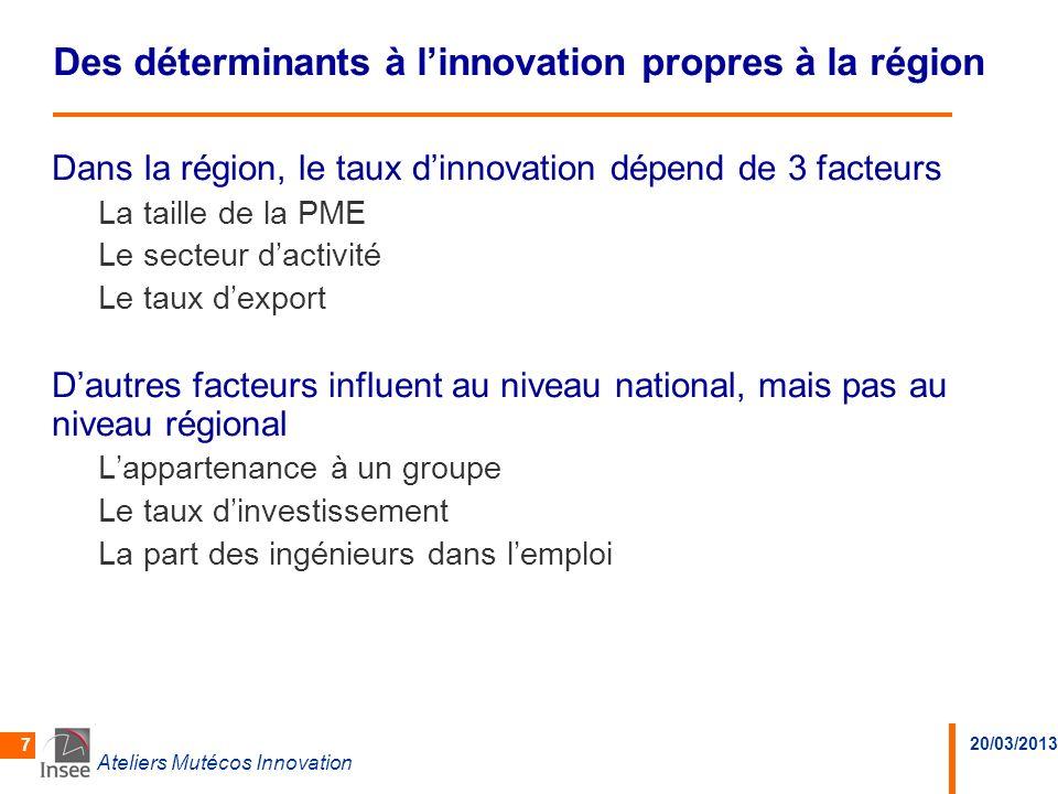 Des déterminants à l'innovation propres à la région