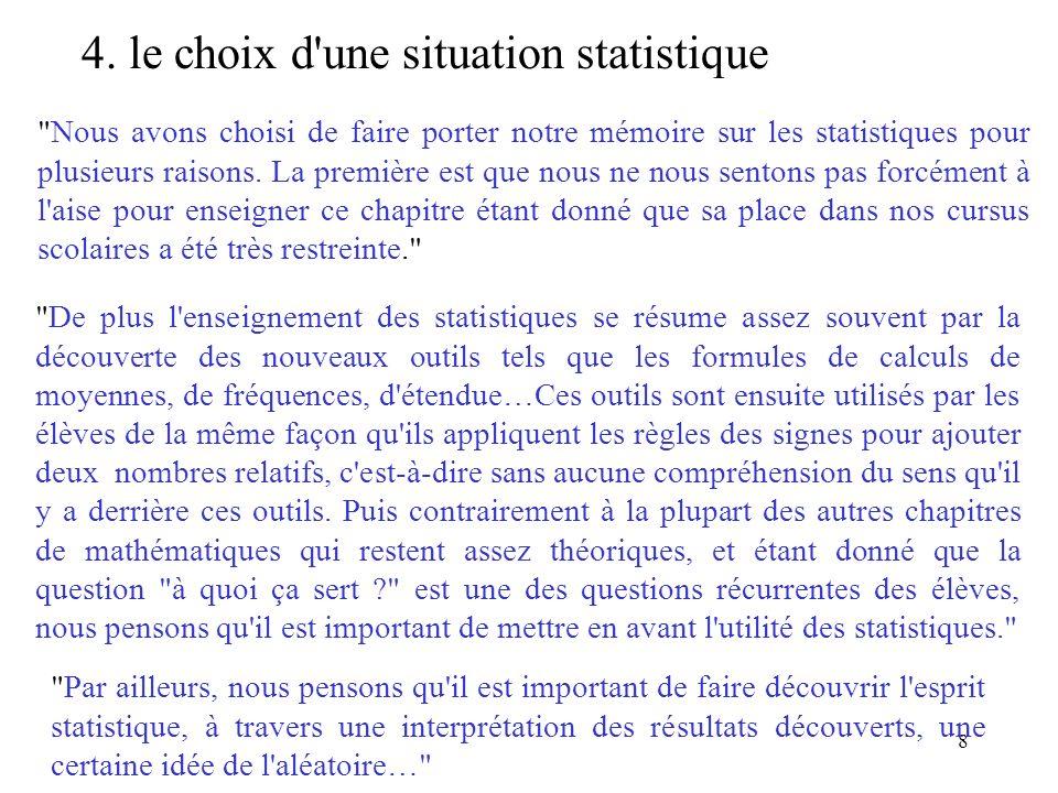 4. le choix d une situation statistique