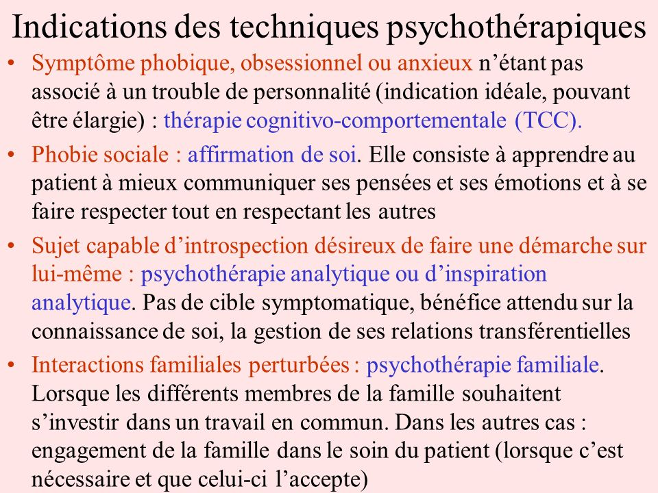 Indications des techniques psychothérapiques