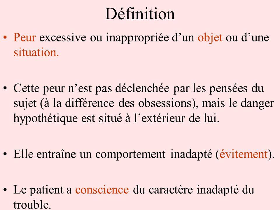 Définition Peur excessive ou inappropriée d'un objet ou d'une situation.
