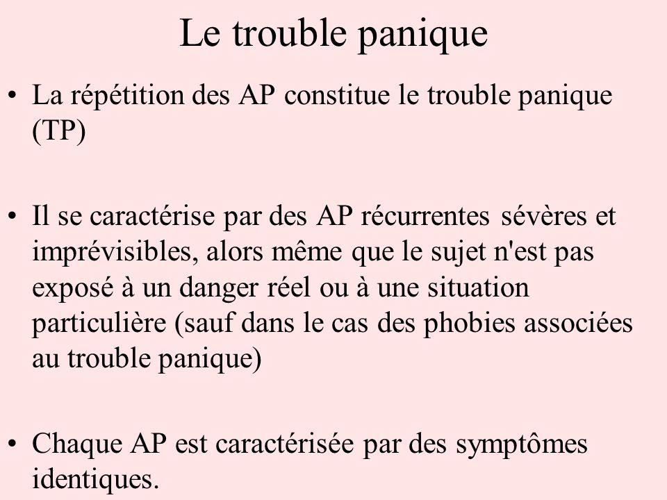 Le trouble paniqueLa répétition des AP constitue le trouble panique (TP)