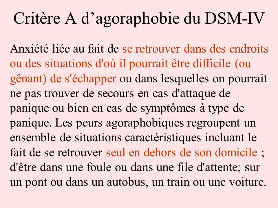 Critère A d'agoraphobie du DSM-IV