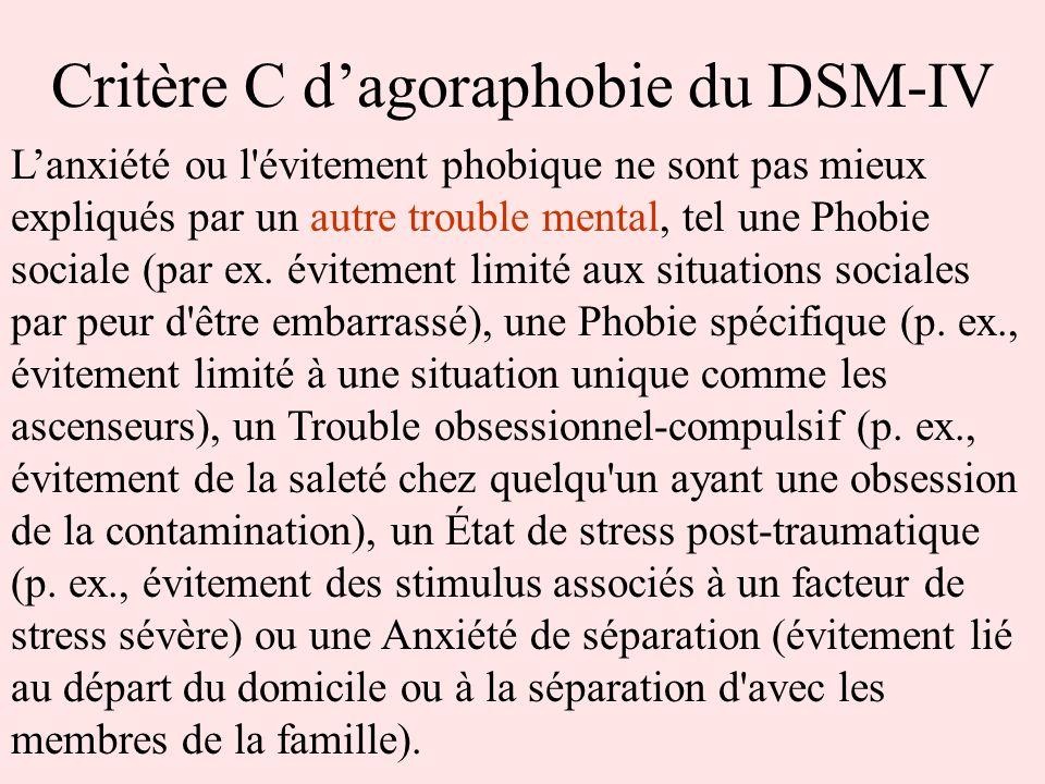 Critère C d'agoraphobie du DSM-IV