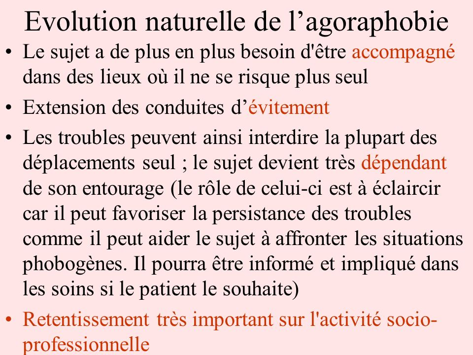 Evolution naturelle de l'agoraphobie
