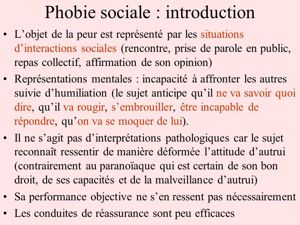 Phobie sociale : introduction