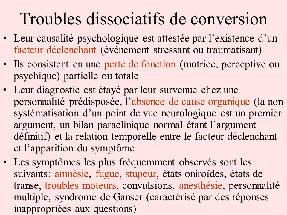 Troubles dissociatifs de conversion