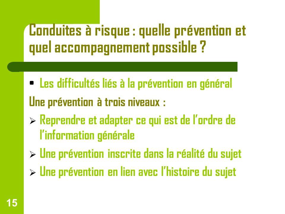 Conduites à risque : quelle prévention et quel accompagnement possible