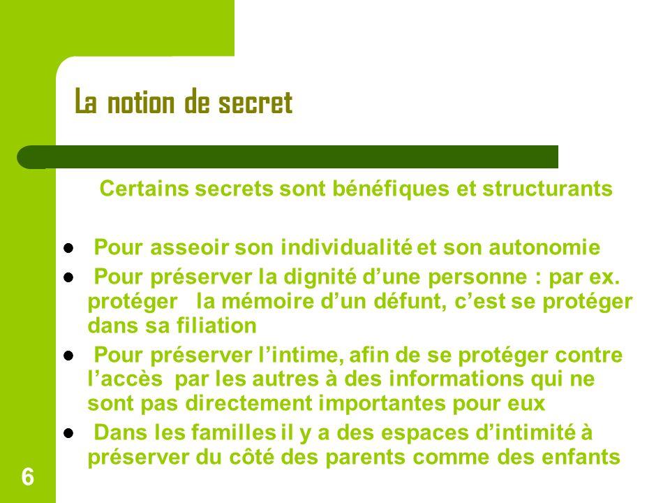 La notion de secret Certains secrets sont bénéfiques et structurants