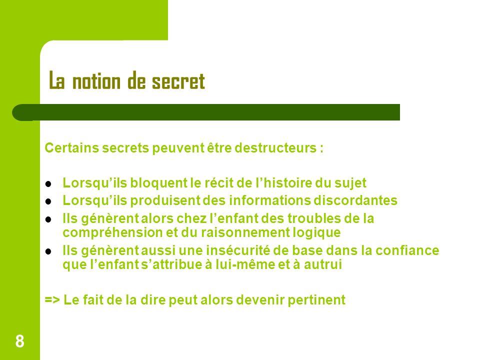 La notion de secret Certains secrets peuvent être destructeurs :