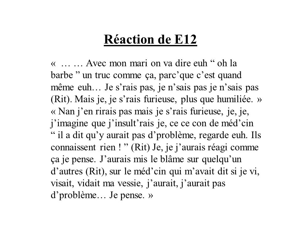 Réaction de E12
