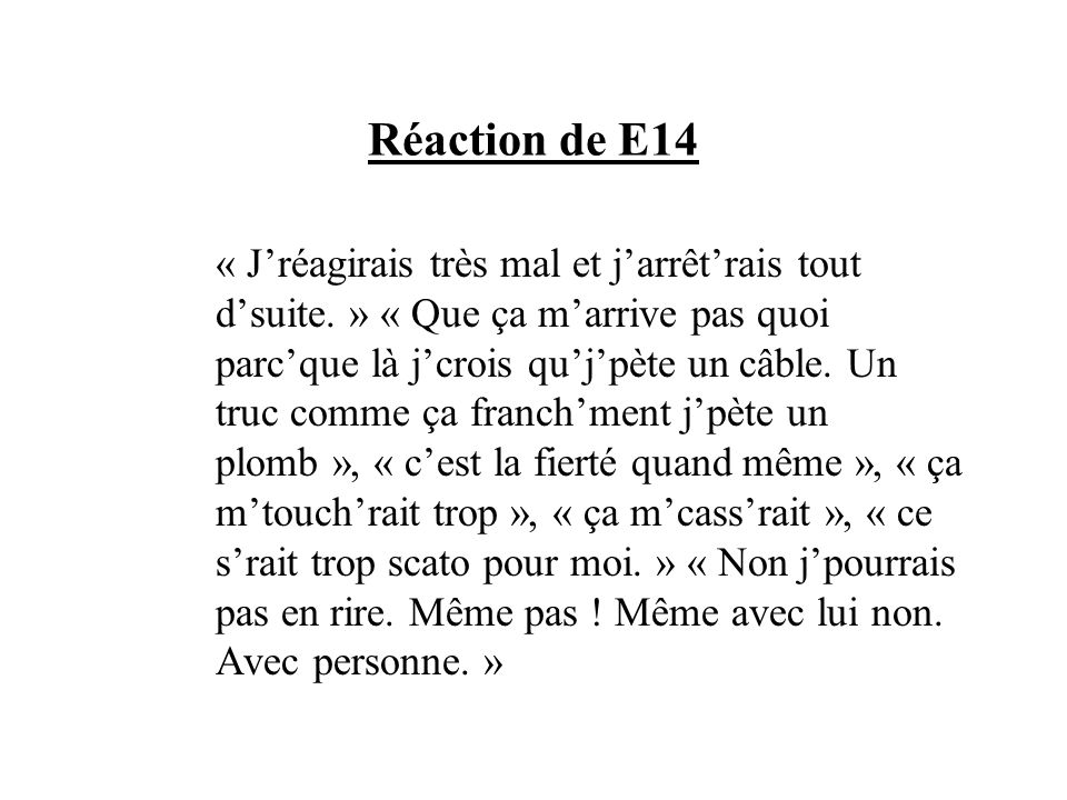 Réaction de E14