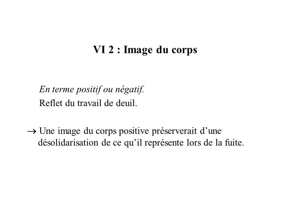 VI 2 : Image du corpsEn terme positif ou négatif. Reflet du travail de deuil.