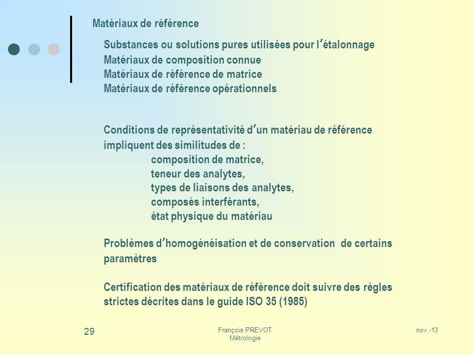 François PREVOT Métrologie