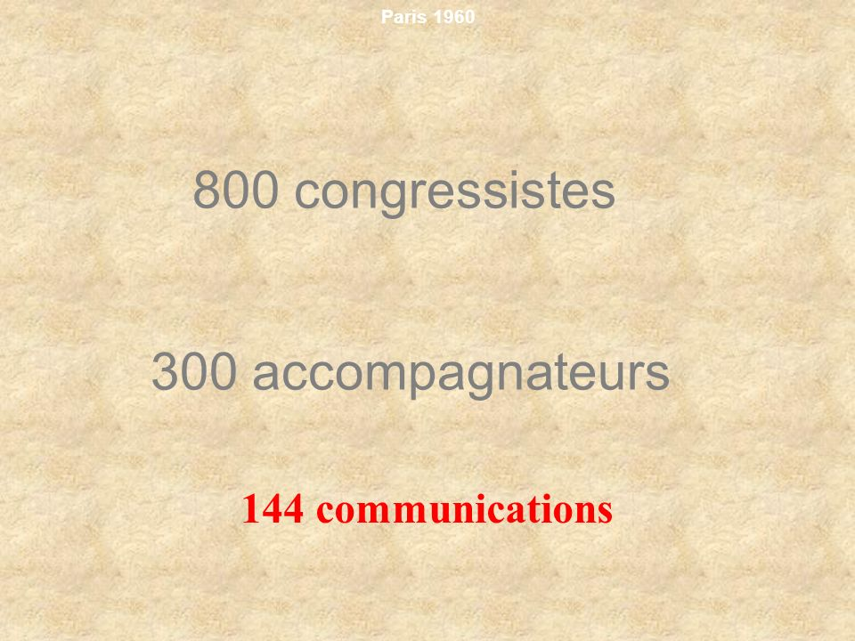 800 congressistes 300 accompagnateurs 144 communications