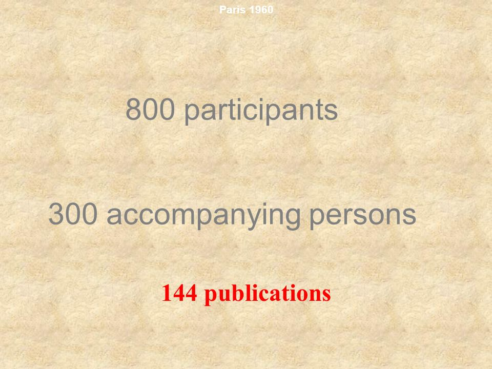 800 participants 300 accompanying persons 144 publications