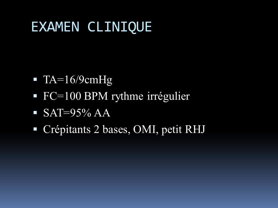 EXAMEN CLINIQUE TA=16/9cmHg FC=100 BPM rythme irrégulier SAT=95% AA