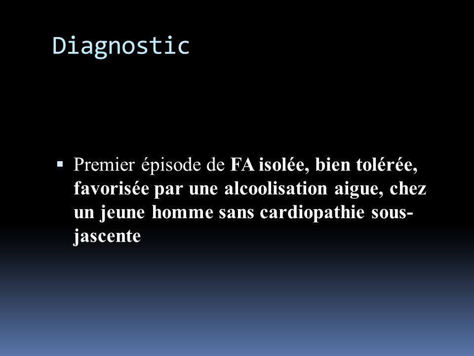 DiagnosticPremier épisode de FA isolée, bien tolérée, favorisée par une alcoolisation aigue, chez un jeune homme sans cardiopathie sous- jascente.