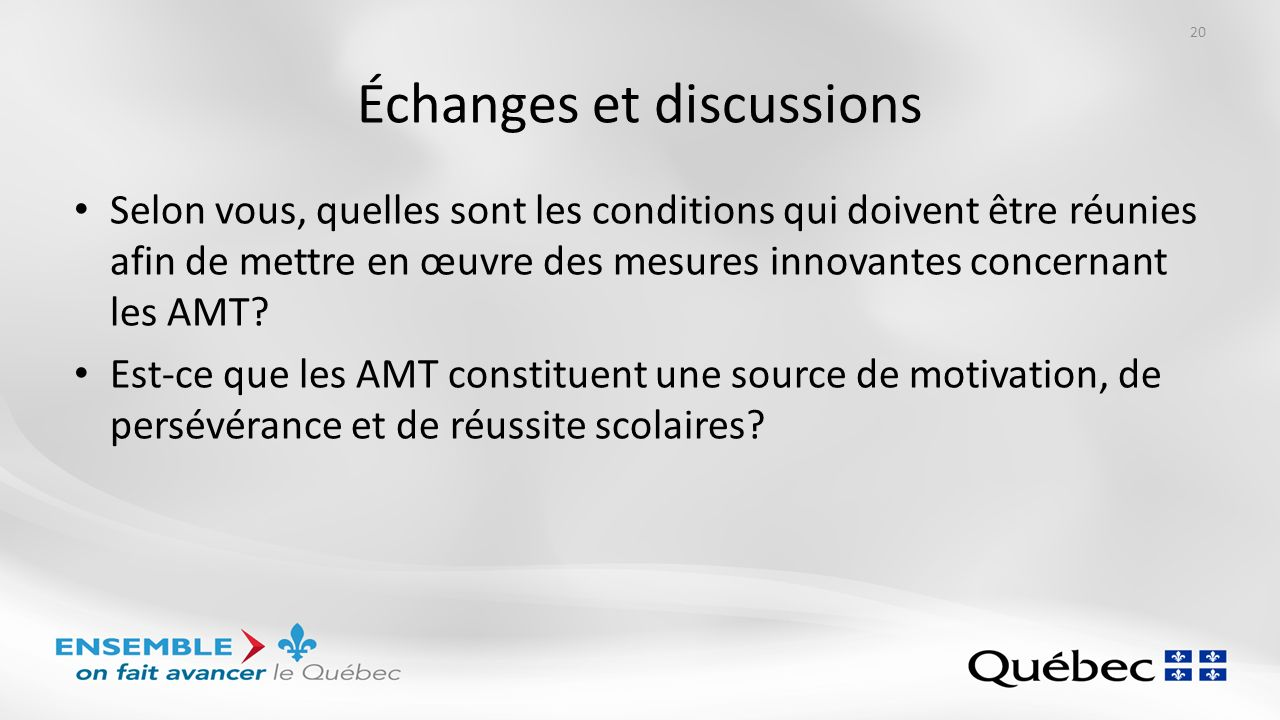 Échanges et discussions