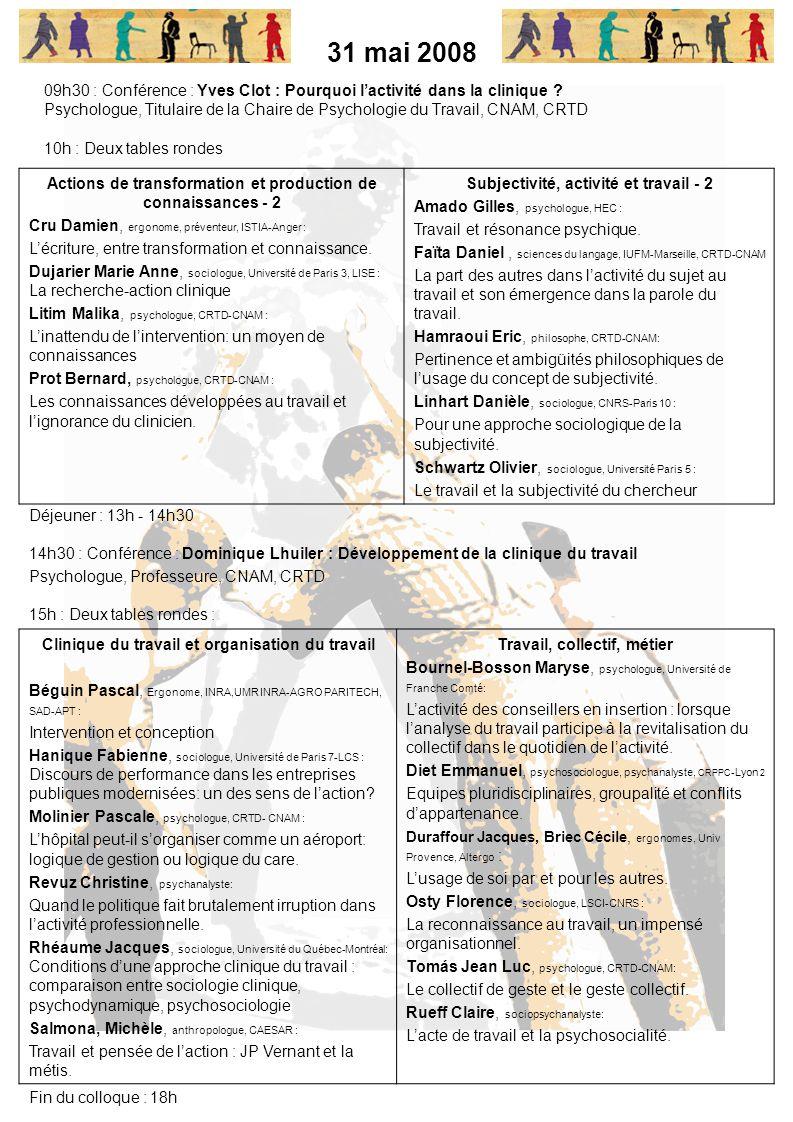 31 mai 2008 09h30 : Conférence : Yves Clot : Pourquoi l'activité dans la clinique
