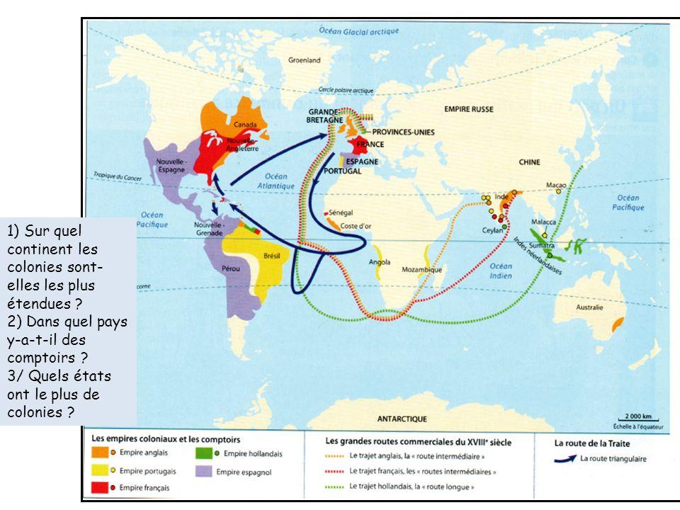 1) Sur quel continent les colonies sont-elles les plus étendues
