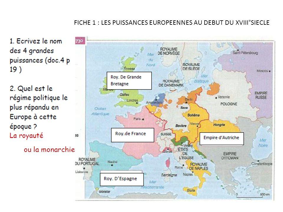 FICHE 1 : LES PUISSANCES EUROPEENNES AU DEBUT DU XVIII°SIECLE