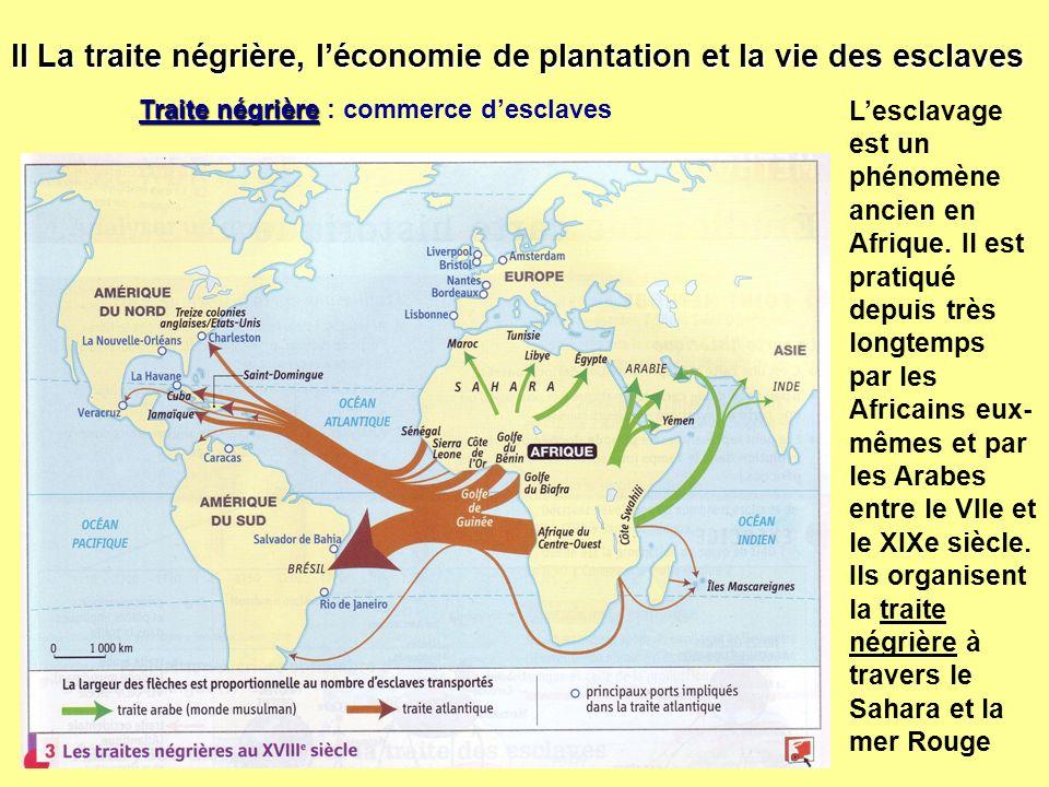 II La traite négrière, l'économie de plantation et la vie des esclaves