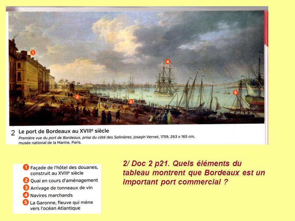 2 2/ Doc 2 p21. Quels éléments du tableau montrent que Bordeaux est un important port commercial