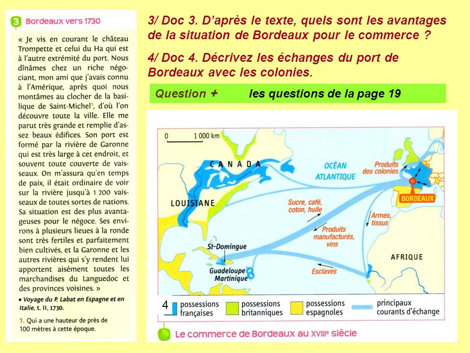4/ Doc 4. Décrivez les échanges du port de Bordeaux avec les colonies.