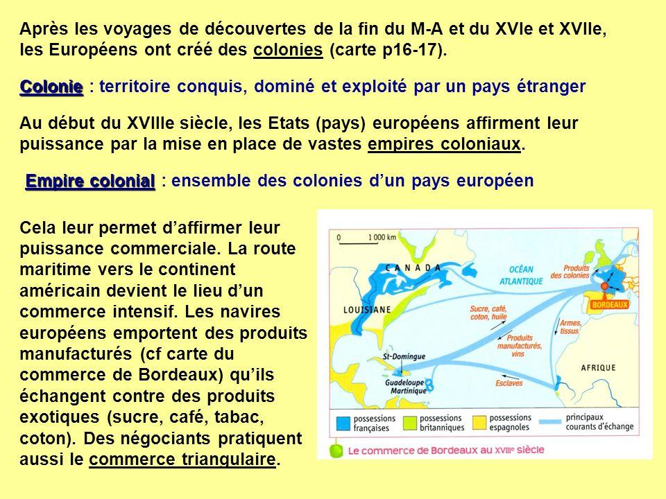Après les voyages de découvertes de la fin du M-A et du XVIe et XVIIe, les Européens ont créé des colonies (carte p16-17).