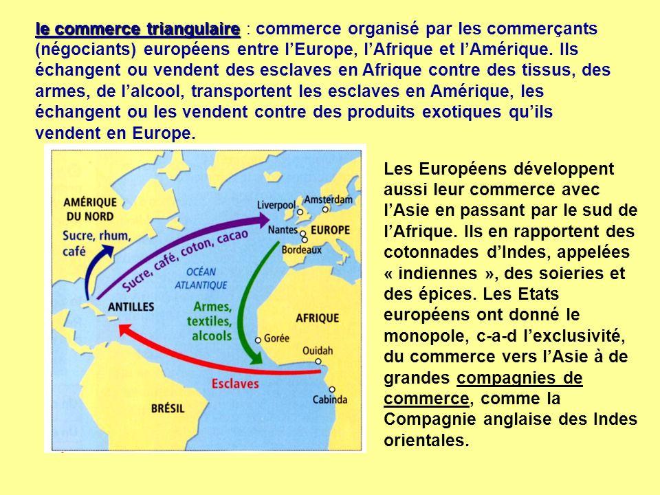 le commerce triangulaire : commerce organisé par les commerçants (négociants) européens entre l'Europe, l'Afrique et l'Amérique. Ils échangent ou vendent des esclaves en Afrique contre des tissus, des armes, de l'alcool, transportent les esclaves en Amérique, les échangent ou les vendent contre des produits exotiques qu'ils vendent en Europe.