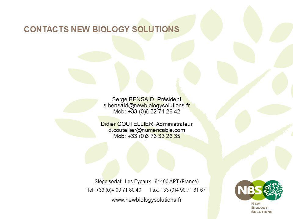 CONTACTS NEW BIOLOGY SOLUTIONS