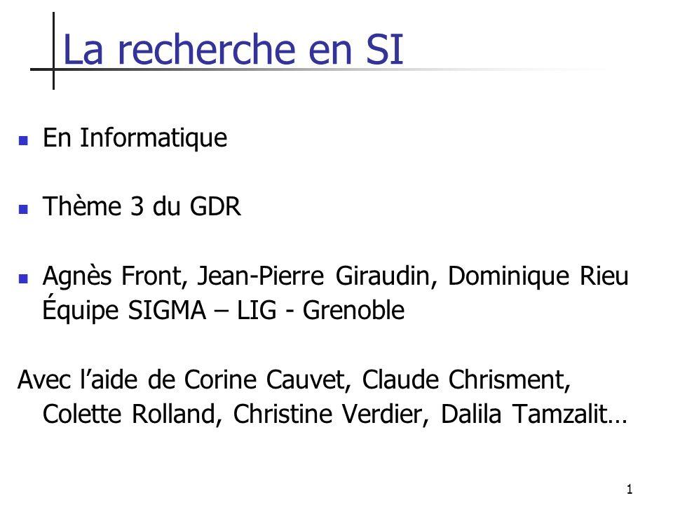 La recherche en SI En Informatique Thème 3 du GDR