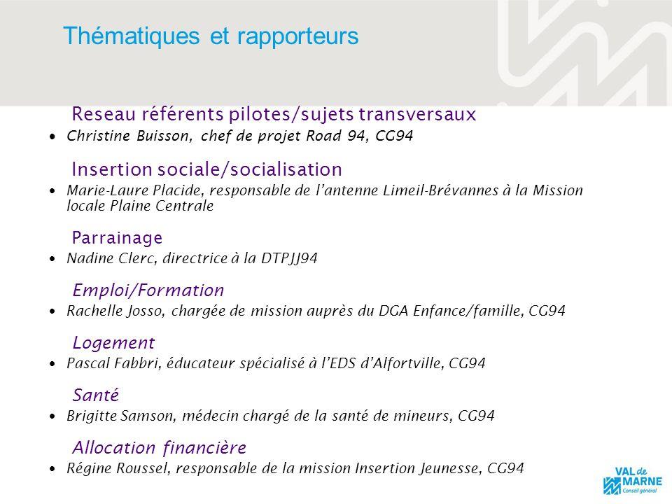 Thématiques et rapporteurs