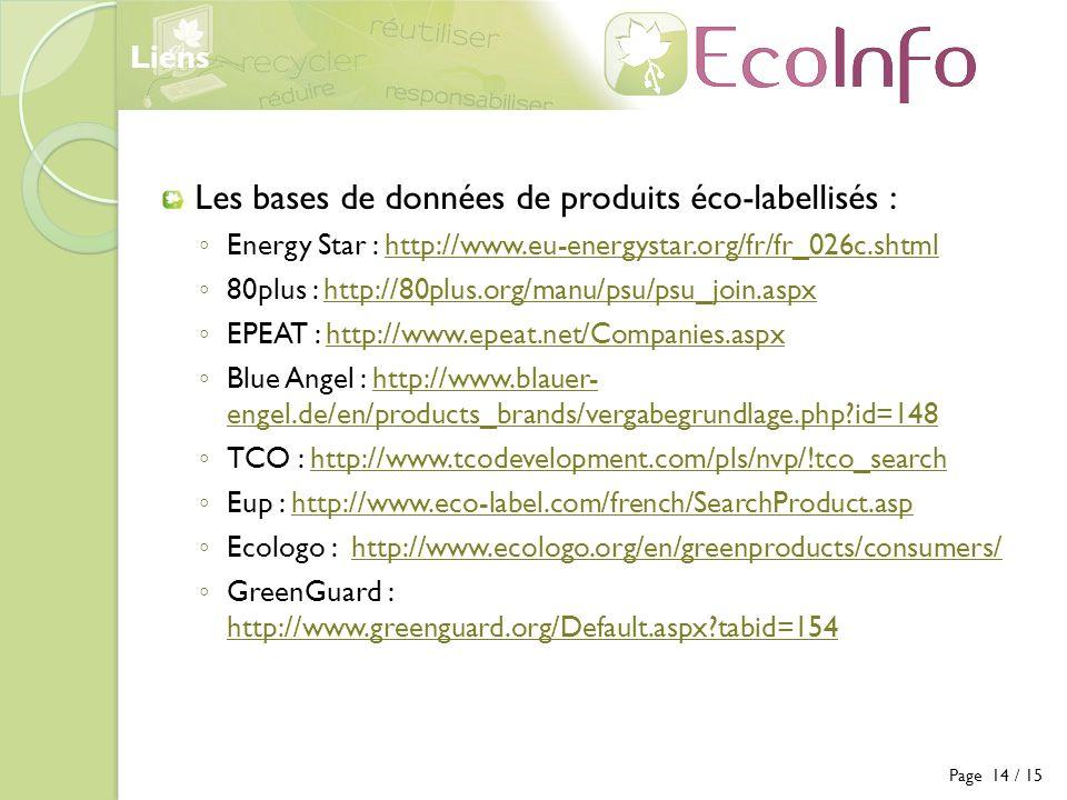 Les bases de données de produits éco-labellisés :