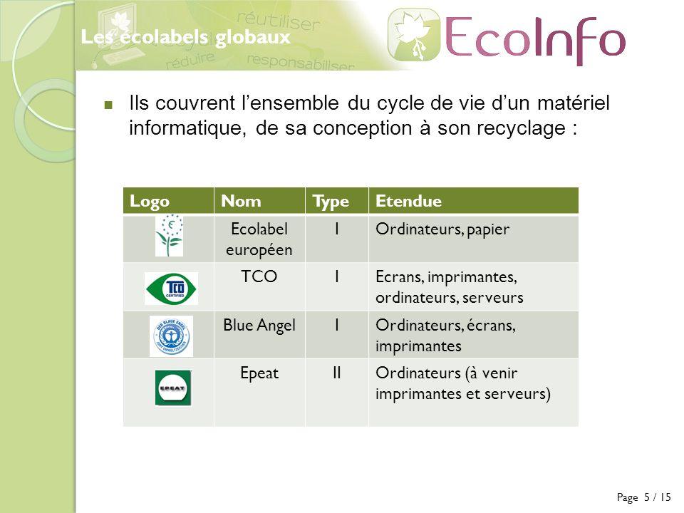 Les écolabels globaux Ils couvrent l'ensemble du cycle de vie d'un matériel informatique, de sa conception à son recyclage :
