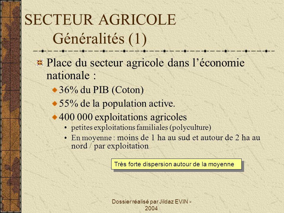 SECTEUR AGRICOLE Généralités (1)