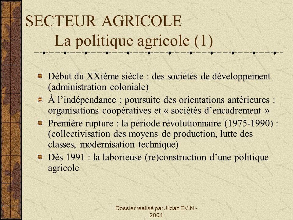 SECTEUR AGRICOLE La politique agricole (1)
