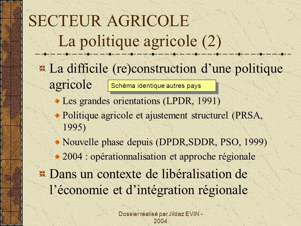 SECTEUR AGRICOLE La politique agricole (2)
