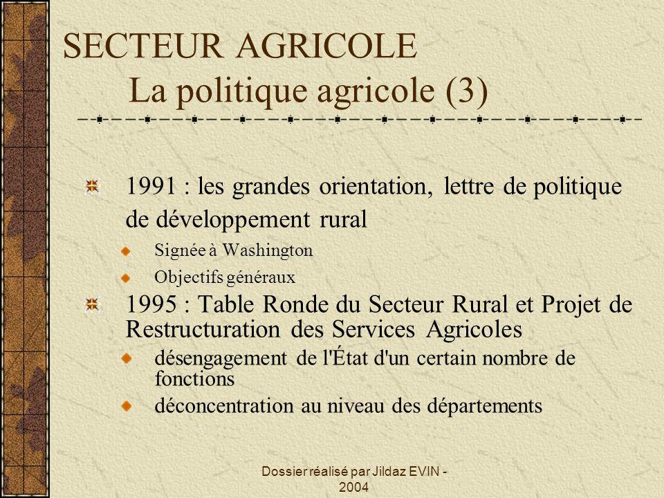 SECTEUR AGRICOLE La politique agricole (3)