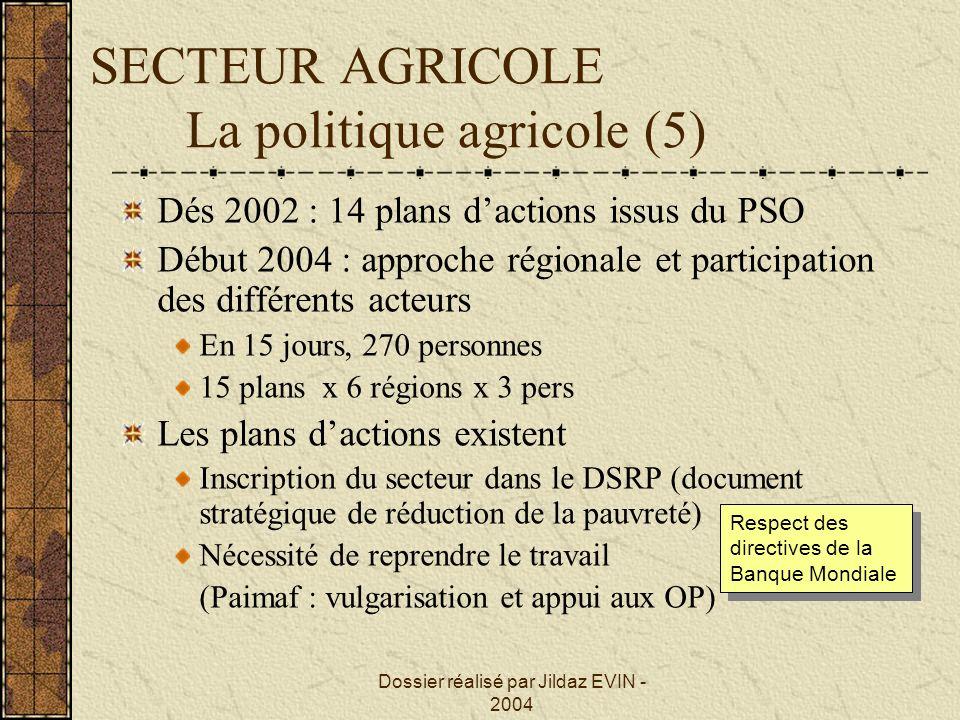 SECTEUR AGRICOLE La politique agricole (5)