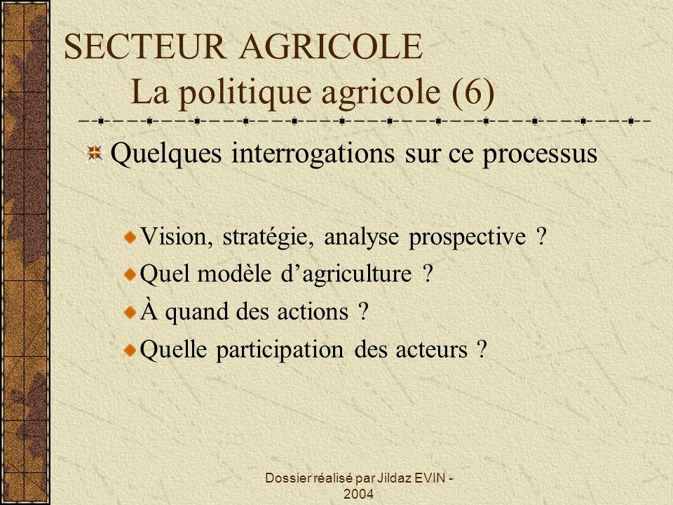 SECTEUR AGRICOLE La politique agricole (6)
