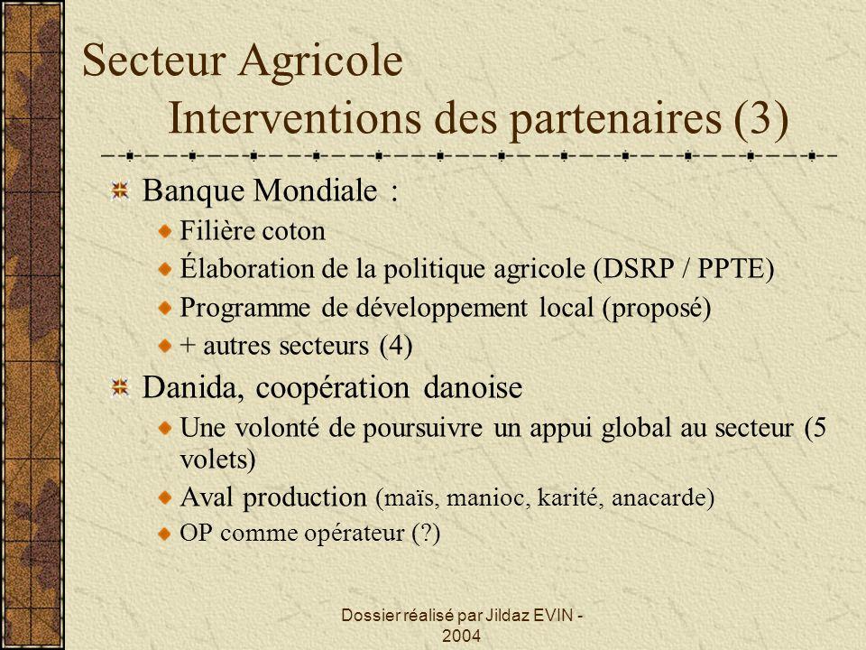 Secteur Agricole Interventions des partenaires (3)