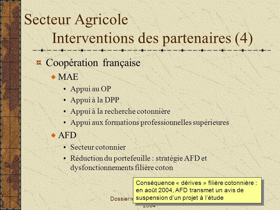 Secteur Agricole Interventions des partenaires (4)