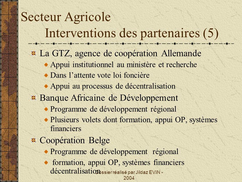 Secteur Agricole Interventions des partenaires (5)