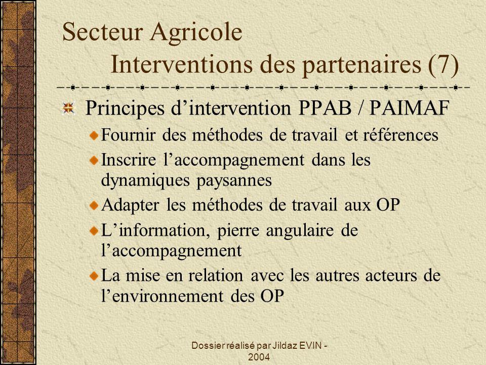 Secteur Agricole Interventions des partenaires (7)