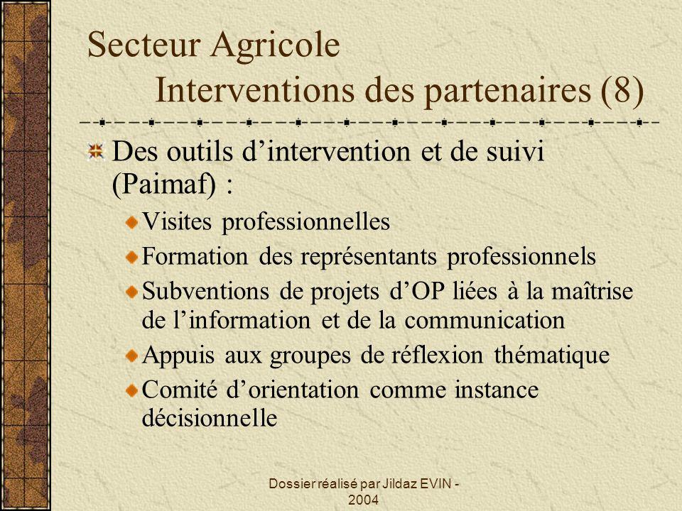 Secteur Agricole Interventions des partenaires (8)